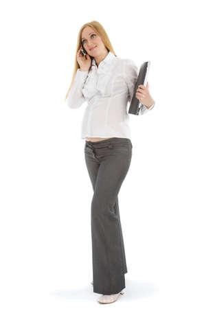 Pregnant caucasian businesswoman on a white background Stock Photo - 4731364