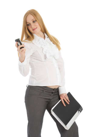 Pregnant caucasian businesswoman on a white background Stock Photo - 4731365