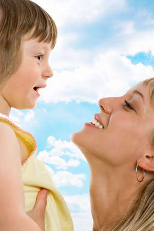 Happy young caucasian mother with her daughter Stock Photo - 5252911