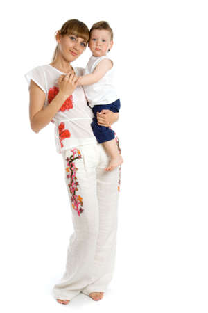 Happy young caucasian mother with her daughter photo