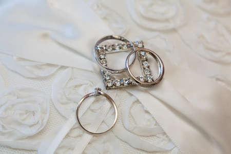 two gold wedding rings macro shoot Stok Fotoğraf - 34241138