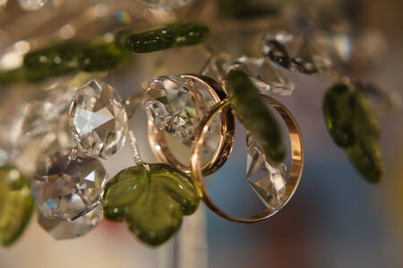 two gold wedding rings macro shoot Stok Fotoğraf - 34241182