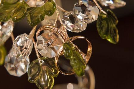 two gold wedding rings macro shoot Stok Fotoğraf - 34241184