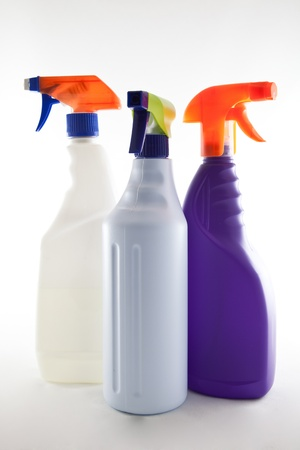 handle with care: cleaning products Stock Photo