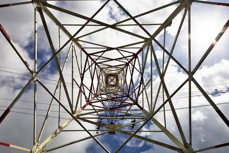 three phase: metal pylon for the distribution of electricity