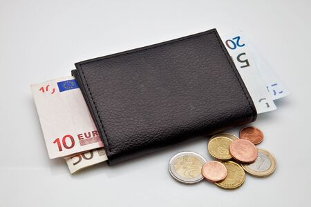 Black leather wallet with cash made photo