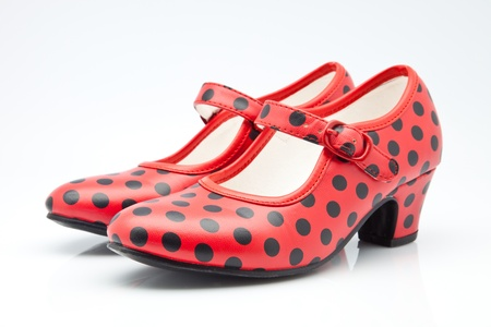 shoes Seville red with polka dots Stock Photo