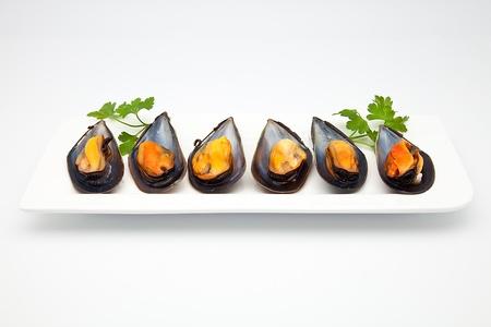 mejillones: mejillones cocidos preparados para consumir