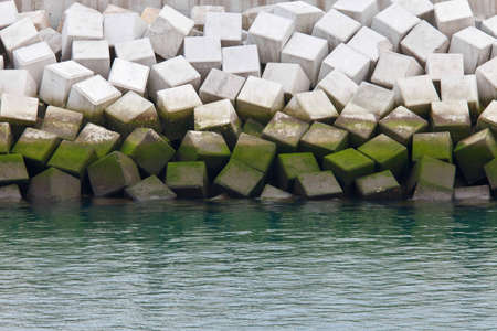 breakwaters made of concrete cubes