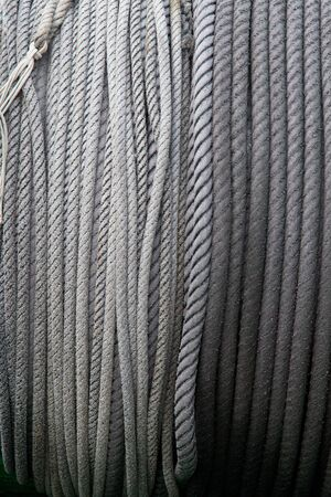 coiled: coiled ropes for marine use Stock Photo