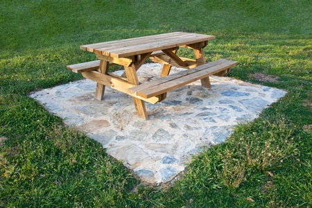 wooden table for the garden photo