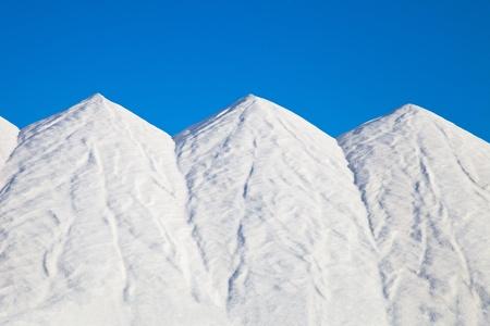 mountains of sea salt stored Stock Photo