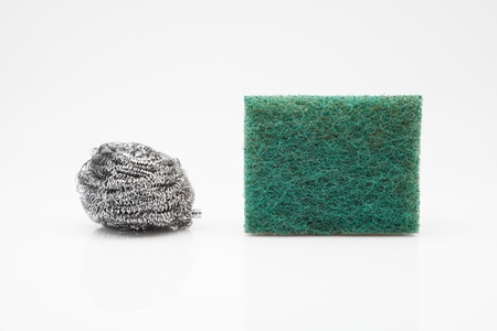 two scourer steel wool and green fiber Stock Photo - 13759987