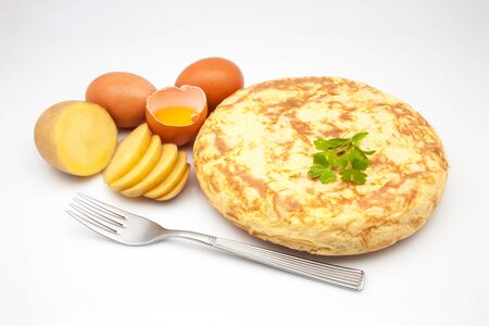 omelette freshly made with ingredients photo