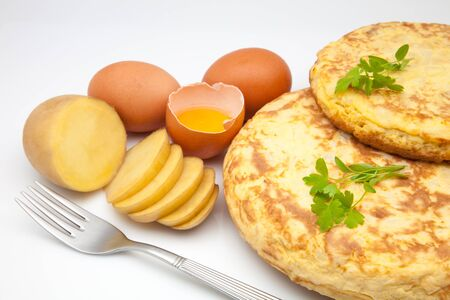 ingredients of omelette of potato Stock Photo