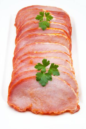 butcher s shop: slices of loin of fresh pig