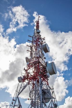 parabolic mirror: Telecommunications antenna for radio, television and telephony Stock Photo
