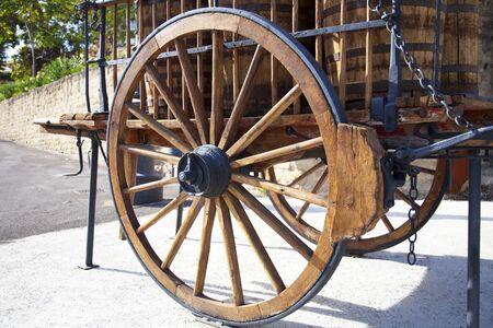 casks: wheel of wagon of transport Stock Photo