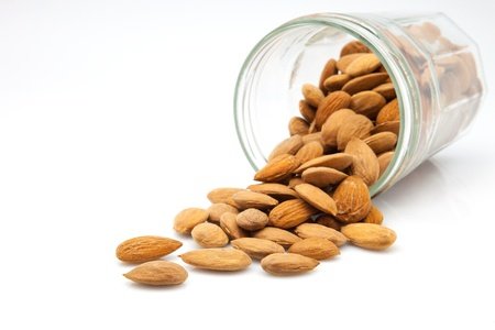 almonds: crystal pot of bare almonds