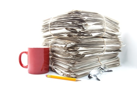 heap of role: office work accumulated with coffee