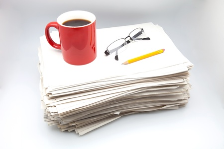 heap of role: office work with coffee, pencil and glasses Stock Photo