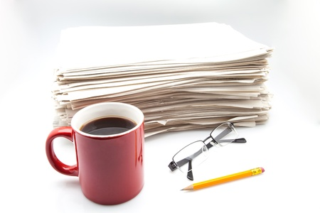 heap of work with cup pencil and glasses Stock Photo - 15789473