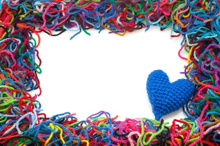 entanglement: I mark of wool with blue heart