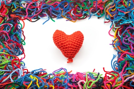 untidily: I mark with woolen heart in white fund