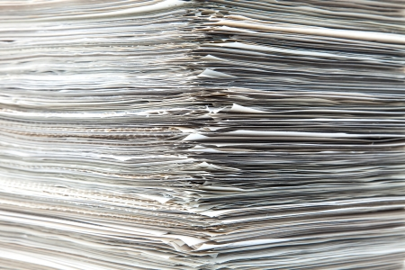 heap of role: piled up documents prepared to check Stock Photo
