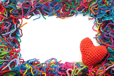 untidily: I mark of colors wools with white fund Stock Photo
