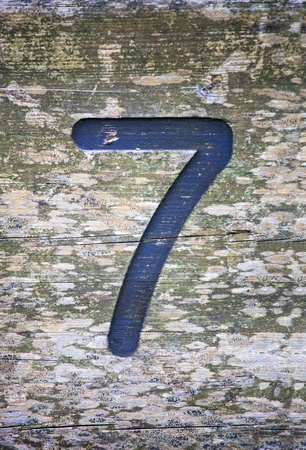 number seven printed on wood Stock Photo - 17031588