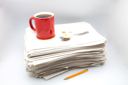 heap of role: documents, cup of coffee  on white fund Stock Photo