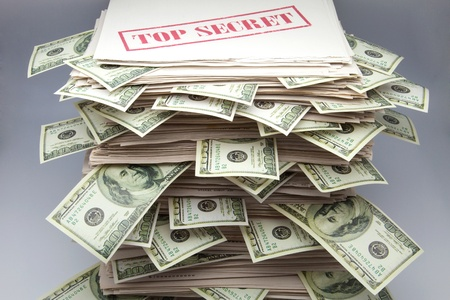 commissions: secret documents with tickets of dollars Stock Photo