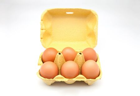 dozen: box half dozen chicken eggs Stock Photo