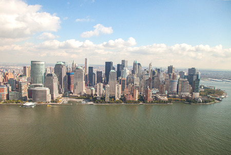 Lower Manhattan viewed from a helicopter photo