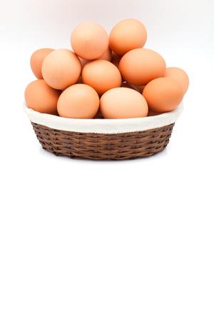 white fund: eggs baskets on white fund