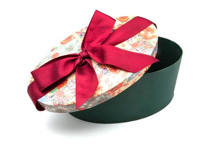 white fund: oval gift box on white fund