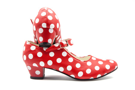 red typical shoes of Flemish dance photo