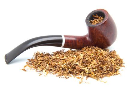 pipe to smoke tobacco on white fund Stock Photo