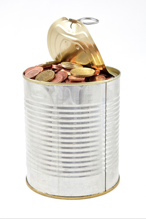 tin with coins on a white background Stock Photo - 28931274