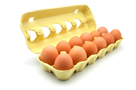 dozen: dozen eggs in a cardboard box