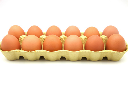 dozen: dozen eggs in cardboard box Stock Photo