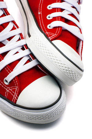 sporting goods: sports shoes red on a white background