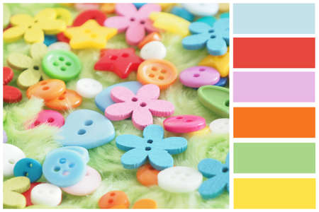 Color palette multi-colored buttons on green artificial fur. Bright color combinations.