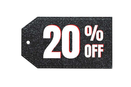 """The inscription """"20% off"""" (twenty percent) in white and red letters on a black shiny label. Foto de archivo"""