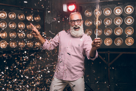 Always have a fun with Santa. Happy christmas 2018 and modern Santa feeling happy with a sparkle and dancing. Happy Christmas moments with confetti and sparkle. Happy New Year 2018 Banco de Imagens