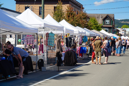 Comox Valley~Vancouver Island,BC, Canada, May 20 2017 Village Market Days on Dunsmuir Avenue in Cumberland~Vancouver Island,BC, Canada