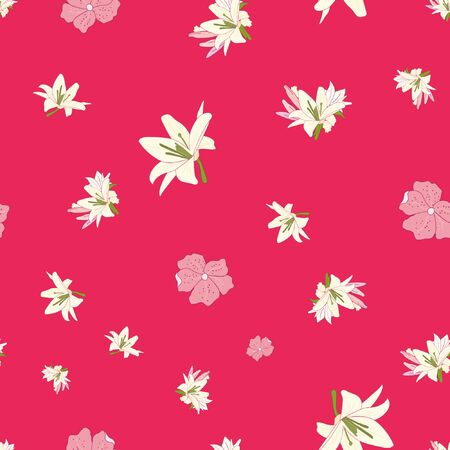 Seamless vector floral pattern. Pink royal lilies flowers on a white background. Vector illustration