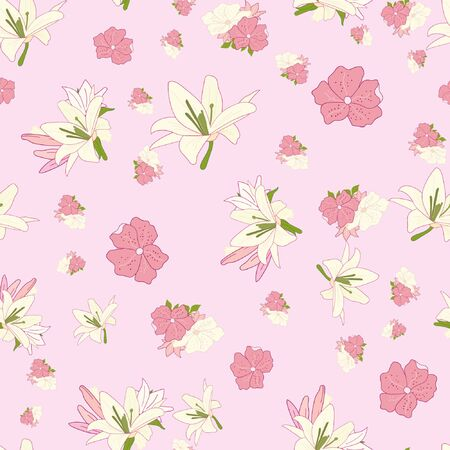 Vintage seamless pattern lily vector illustrator pink flowers Ilustrace