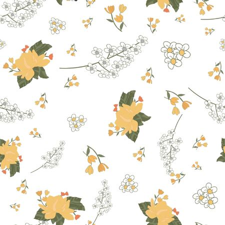 white and yellow flowers Иллюстрация